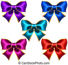 Holiday bows with gold border - Vector illustration -...