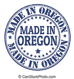 Made in Oregon stamp - Made in Oregon grunge rubber stamp,...