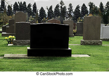 Dark Tombstone in Cemetery - Blank tombstone