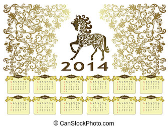 Calendar 2014 with a horse on a vintage background - vintage...