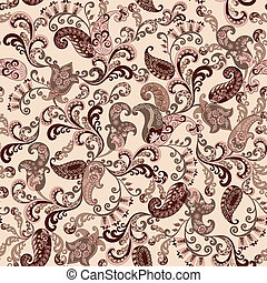 seamless paisley in brown and pink tones with decorative...