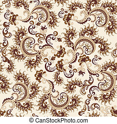 seamless ornate pattern in beige and brown colors on a light...