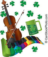 St Patricks Day Violin with Colorful Piano Keyboard - St...