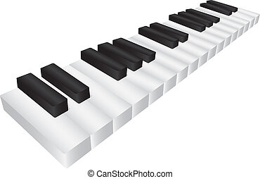 Piano Black and White Keyboard 3D Illustration - Piano...