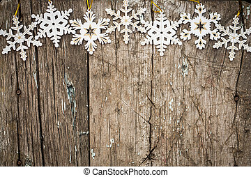 Snowflakes border on wood - Snowflakes border on grunge...