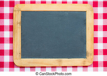 Vintage blackboard on gingham - Vintage blackboard blank on...