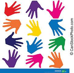 coloridos, mãos, vetorial, Ilustração