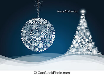 Christmas ball and Christmas tree with snowflakes. Vector...