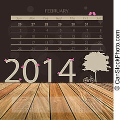 2014 calendar, monthly calendar template for February Vector...