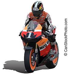 Superbike And Biker - Detailed Vector Illustration