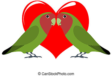 Lovebirds - A pair of lovebirds with heart