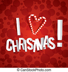 I Love Christmas Card On Red Background vector illustration