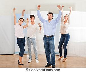 Grupo, excitado, pessoas