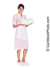 Young Female Maid With Towel