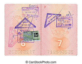 Opened Russian passport with stamps isolated on white with...