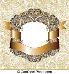 vintage frame with gold ribbon - hand draw ornate vintage...