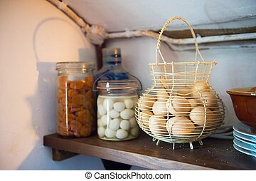 Preserving food in the cellar to keep it cool in the 20e...