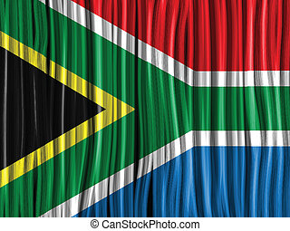 South Africa Flag Wave Fabric Texture Background - Vector -...