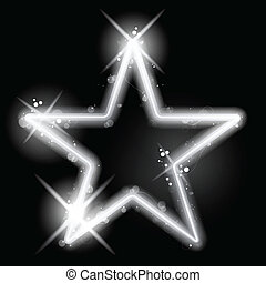 Silver Star Glowing on Black Background Christmas - Vector -...