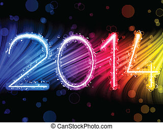 2014 New Year Colorful Waves on Black Background - Vector -...