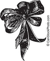 Bowtie - Vintage engraving of a bow tie isolated on white