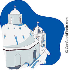 Greek Islands - Vector illustration of the traditional...
