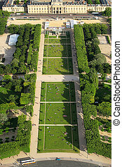 Champ de Mars in Paris, France. - View of green lawns of...