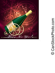 Greeting Card with Champagne - Illustration with bottle of...