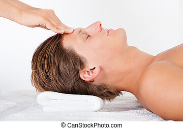 Man Getting Head Massage - Portrait Of A Young Man Getting...