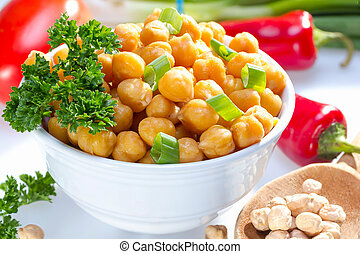 Cooked garbanzo beans. - Cooked garbanzo beans (chick peas)...