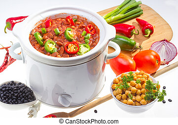 Beans cooked in slow cooker - Pinto and garbanzo beans...