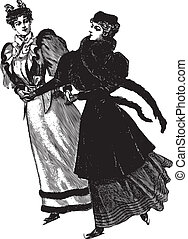 Dancing Women - Vintage engraving of two women dancing,...