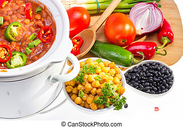 Beans cooked in slow cooker. - Pinto and garbanzo beans...