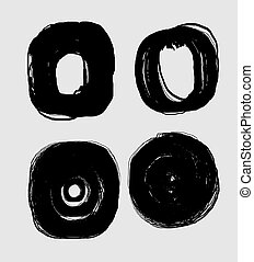 grunge circle brush strokes vector art