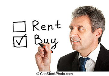 Buy not rent concept on white screen