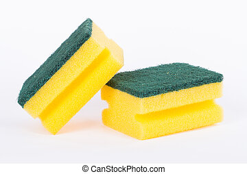 Cleaning Sponge - Close up view of yellow kitchen cleaning...