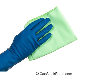 Hand in Glove Holding Rag - Hand in glove holding green rag,...