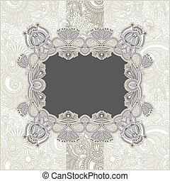 Vintage template with floral background - hand draw ornate...