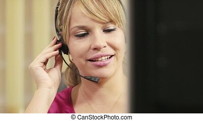 female operator in call center work - portrait of woman...