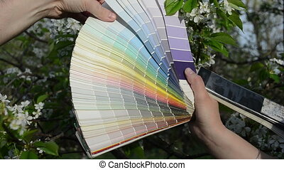 tree bloom color palette - hands choosing color tint hue...
