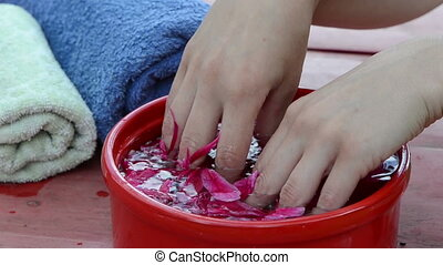 spa pleasure hand - softener palms of the hands and fingers...