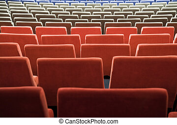 Cinema auditorium - Empty new cinema auditorium with rows of...