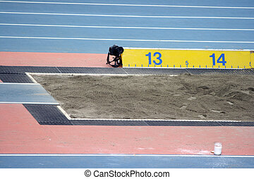 longjump sandpit - long jump sand pit from indoors stadium...
