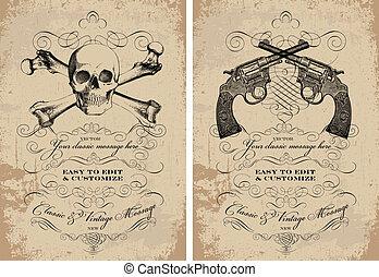 Vector Clipart Skull and Guns Frame Set