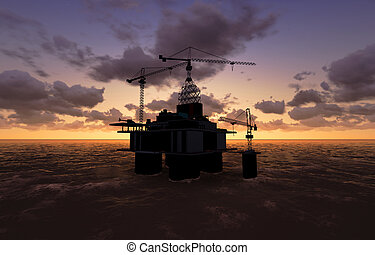 Sea Oil Platform in the Sunset 3D