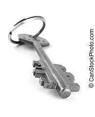 key with key ring - shallow DOF key with key ring on white...