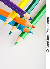 Isolated wooden pencils - Colorful wooden pencils