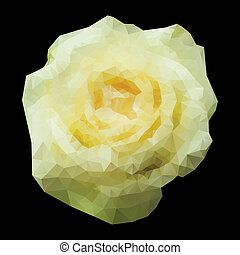 Abstract geometric polygonal white rose - Abstract geometric...