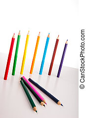 Bright composition of color pencils - Colorful wooden...