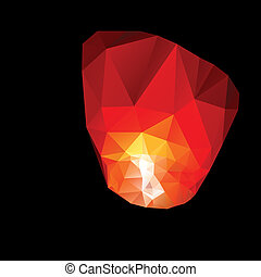 Polygonal red sky lanterns - Polygonal red sky lanterns in...